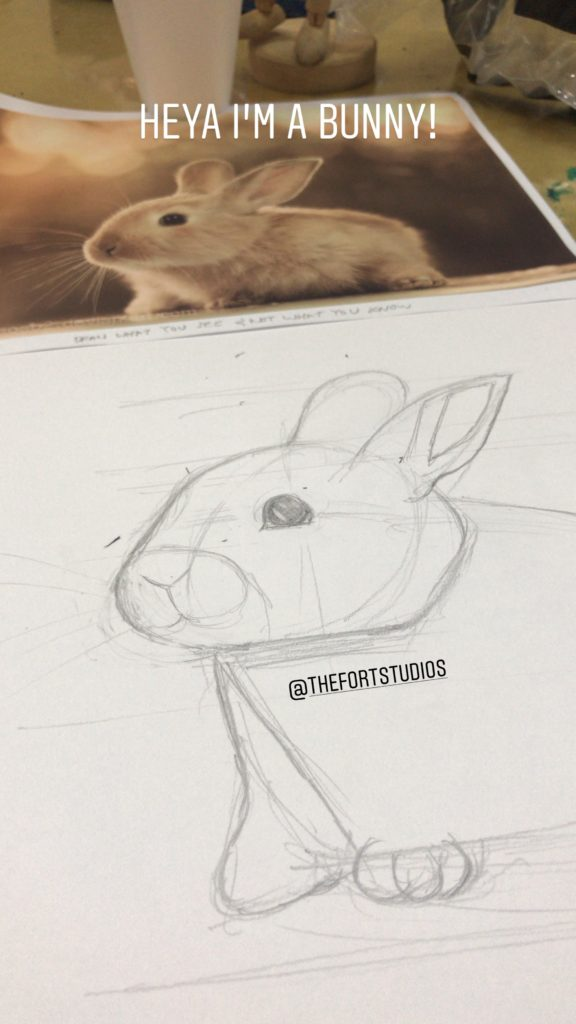 Tiny Rabbit Hole - The Fort Studios Drawing Painting Art Bunny Outline Sketching